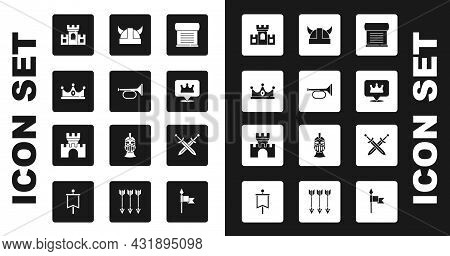 Set Decree, Parchment, Scroll, Trumpet, King Crown, Castle, Fortress, Location King, Viking Horned H