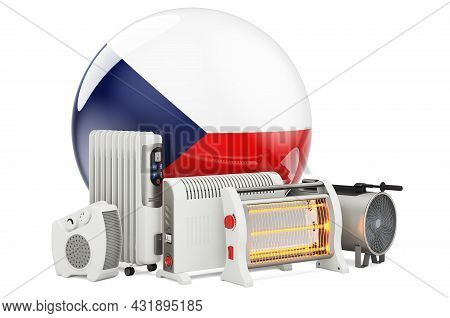 Czech Flag With Heating Devices. Manufacturing, Trading And Service Of Convection, Fan, Oil-filled,