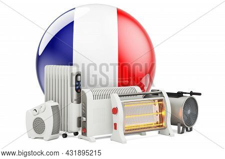 French Flag With Heating Devices. Manufacturing, Trading And Service Of Convection, Fan, Oil-filled,