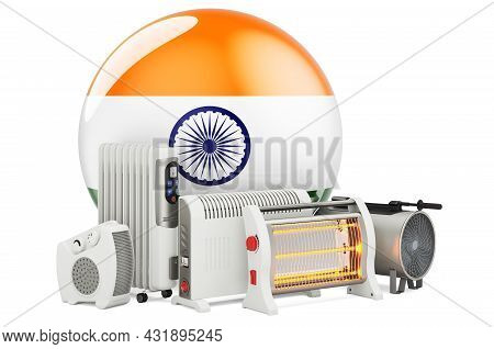 Indian Flag With Heating Devices. Manufacturing, Trading And Service Of Convection, Fan, Oil-filled,
