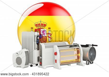 Spanish Flag With Heating Devices. Manufacturing, Trading And Service Of Convection, Fan, Oil-filled