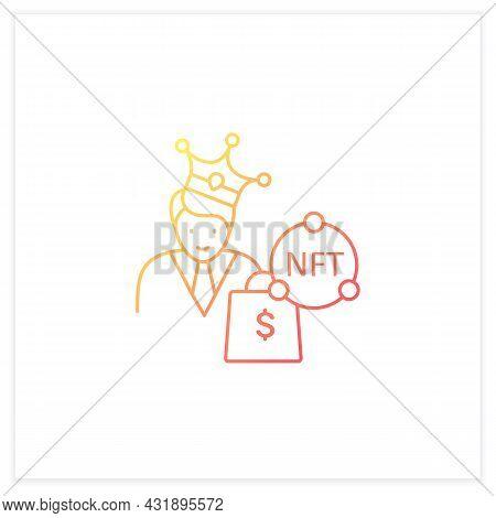 Nft Buyer Gradient Icon. Gain Possession Original Digital File. Buying Nft Files. Digitalization Con