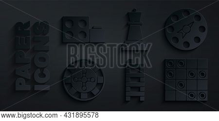 Set Mahjong Pieces, Twister Game, Casino Roulette Wheel, Board Of Checkers, Chess And Toy Building B