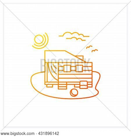 Beach Hut Gradient Icon. Wooden Facade, Comfortable House On Beach. Perfect Relax Place. Seascape. R