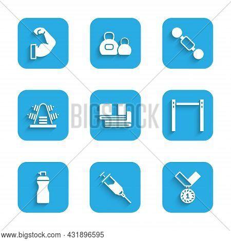 Set Towel Stack, Doping Syringe, Medal, Horizontal Bar, Fitness Shaker, Metal Rack With Weights, Dum