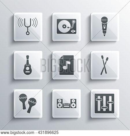 Set Home Stereo, Sound Mixer Controller, Drum Sticks, Music Book With Note, Maracas, Guitar, Musical
