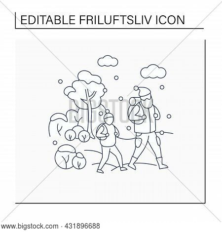 Friluftsliv Line Icon. Family Hiking. Dad And Son Walking In Snow. Park Landscape.nordic Outdoor Act