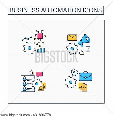 Business Automation Color Icons Set. Hr Onboarding, Marketing Automation, Implementing Business, Dig