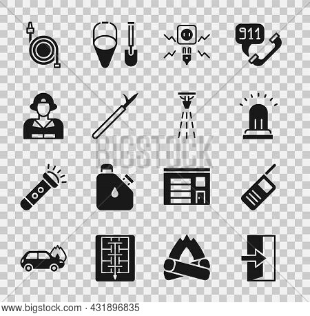 Set Fire Exit, Walkie Talkie, Ringing Alarm Bell, Electricity Spark, Metal Pike Pole, Firefighter, H