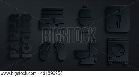 Set Toilet Bowl, Male Toilet, Flip Flops, Washer, And Towel Stack Icon. Vector