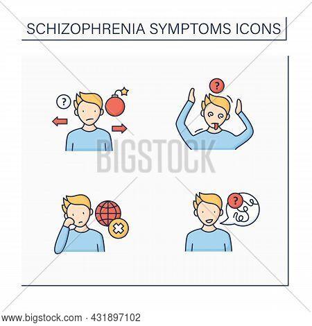 Schizophrenia Symptoms Color Icons Set. Speech Difficulties, Abnormalities, Disinterest. Behaviors A