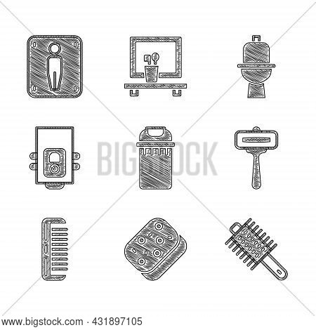 Set Trash Can, Sponge, Hairbrush, Shaving Razor, Gas Boiler, Toilet Bowl And Male Toilet Icon. Vecto