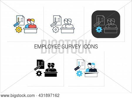 Employee Survey Icons Set.questionnaire To Obtain Opinions, Reviews. Evaluate Employee Mood. Talent