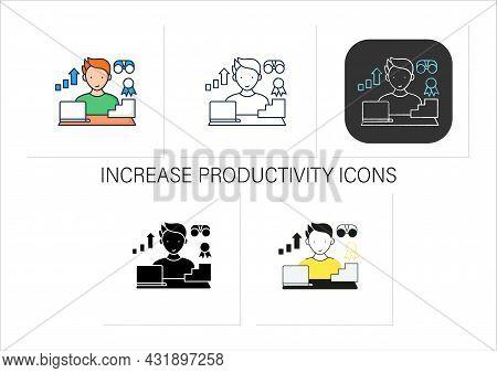 Workaholic Icons Set.improving Career Prospects. Increase Productivity. Work Done Reward. Man At Lap