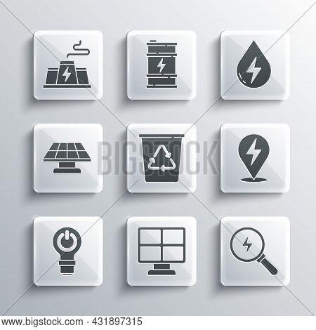 Set Solar Energy Panel, Lightning Bolt, Recycle Bin With Recycle, Bulb Lightning, Power Station Plan