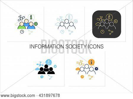 Information Society Icons Set. Creation, Distribution, Use Info. Communication Space. Digital Transf