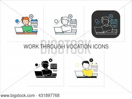 Workaholic Icons Set.work Through Vocation, Overtime. Work Despite Calendar Days Off. Man At Laptop.