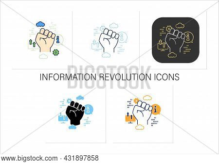 Information Revolution Icons Set. Fist Up. Saving, Sharing Info By Computers.digital Transformation