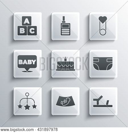 Set Ultrasound Of Baby, Baby Shoes, Absorbent Diaper, Cake With Burning Candles, Crib Hanging Toys,
