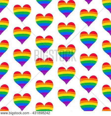 Seamless Pattern Background With Rainbow Lgbtq Gay Pride Flag Colors Heart Shape, Crayon Pencil Text