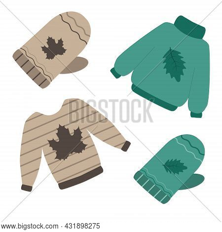 Autumn Clothing: Sweater, Mittens. Warm Outerwear. Vector Illustration
