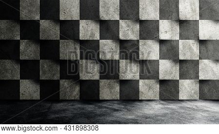 Empty Space Studio Room Of Plaster Cement Concrete Wall Grunge Texture Background.