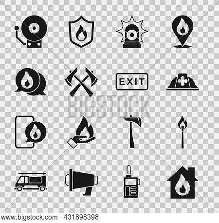Set Fire In Burning House, Burning Match With Fire, Firefighter Helmet, Flasher Siren, Axe, Telephon