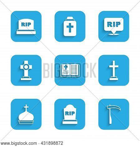 Set Holy Bible Book, Tombstone With Rip Written, Scythe, Grave Cross, Church Tower, Speech Bubble Ri