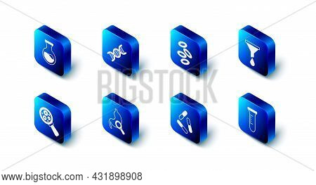 Set Dna Symbol, Hemoglobin, Funnel Or Filter, Test Tube And Flask, Virus, Stomach With Magnifying Gl