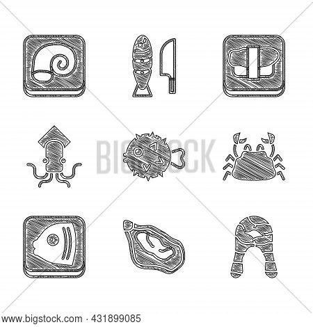 Set Fish Hedgehog, Mussel, Steak, Crab, Head, Octopus, Sushi On Cutting Board And Plate Icon. Vector