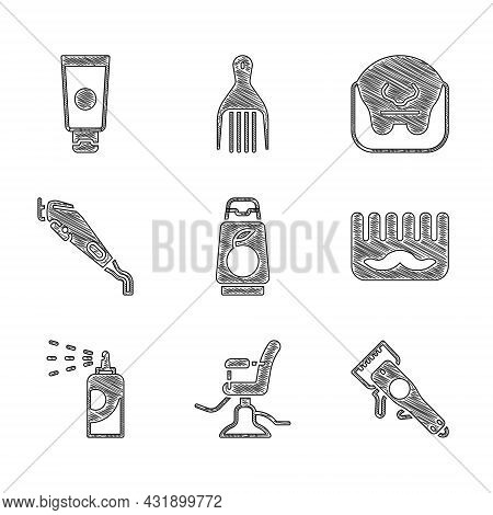Set Bottle Of Shampoo, Barbershop Chair, Electrical Clipper, Hairbrush, Spray Can For Hairspray, Mus
