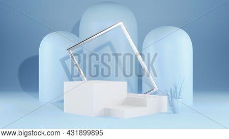 3d Geometric Shape Form Rendering In Minimal Scene Podium Showcase, Shop Front, Display Mockup Case