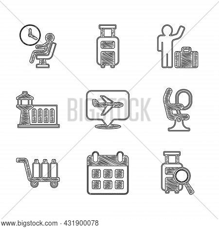 Set Plane, Calendar And Airplane, Lost Baggage, Airplane Seat, Trolley, Airport Control Tower, Touri