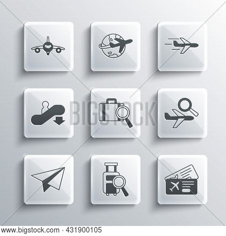 Set Lost Baggage, Airline Ticket, Airplane Search, Paper Airplane, Escalator Down, Plane And Icon. V