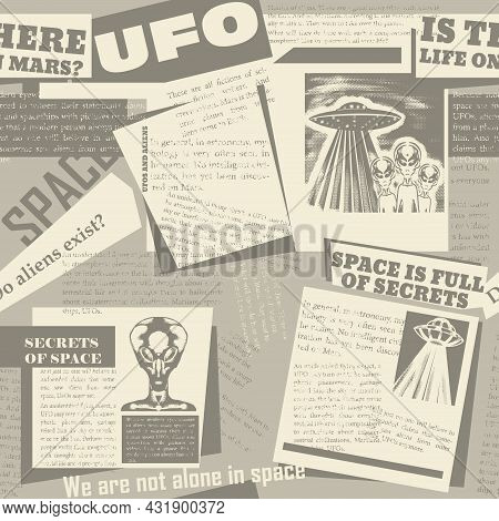 Vintage Seamless Pattern With A Collage Of Newspaper Clippings With Articles About Ufos And Aliens.