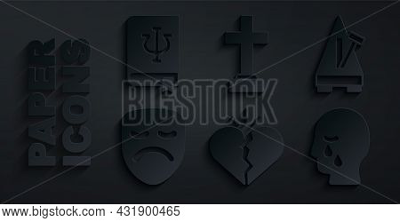 Set Broken Heart Or Divorce, Metronome With Pendulum, Drama Theatrical Mask, Man Graves Funeral Sorr