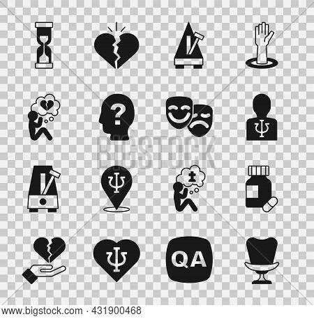 Set Armchair, Sedative Pills, Psychology, Psi, Metronome With Pendulum, Head Question Mark, Broken H