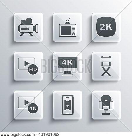 Set Buy Cinema Ticket Online, Director Movie Chair, Screen Tv With 4k, Hd Movie, Tape, Frame, Retro