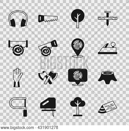 Set Wooden Beam, Tree Stump, Plane Tool, Hand Saw And Log, Two-handed, Headphones And Logs Icon. Vec