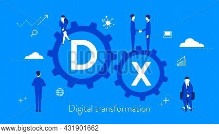 Digital Transformation Concept Image,gear And Businesspeople,blue Background,vector Illustration