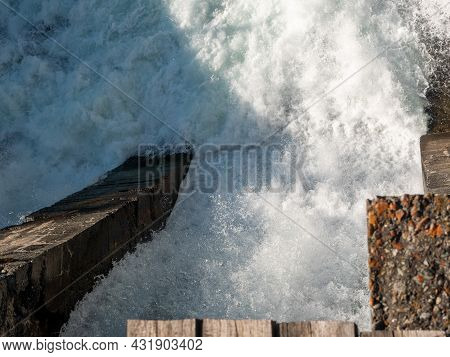 Chemal Hydroelectric Power Station. Top View Of The Seething Stream Of Water. Selective Focus. Chema