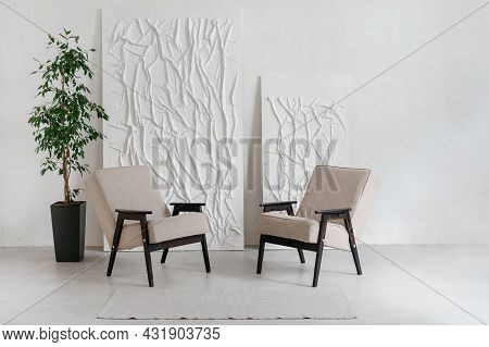 Living Room Interior Design, Modern Home Style. Minimalistic Style Of Indoor White Space, Wooden Arm
