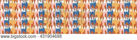 Playful Matisse Style Cut Out Shape Border. Seamless Modern Scandi Collage Style Edging For Retro Ki