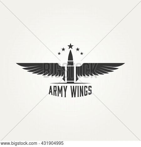 Army Wings Badge With Bullet And Star Logo Icon Template Vector Illustration Design. Military, Navy,