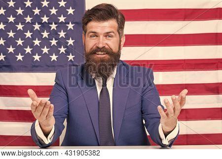 Man American Presenter Anchorman In Studio, Public Speech Concept