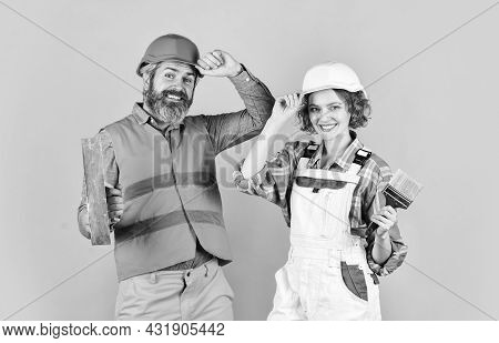 Pick Color. Diy Repair. Construction Workers. Home Renovation. Cheerful Couple Renovating House. Fam