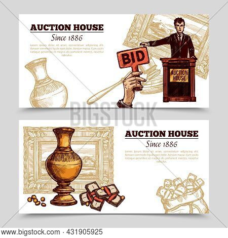 Auction House Horizontal Banners With Manager And Rare Vase On Auction Theme Background Sketch Doodl