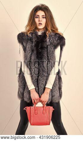 Girl Fashion Lady Stylish Hairstyle Wear Mink Fur Coat. Fashion Stylish Accessory. Fashion And Shopp