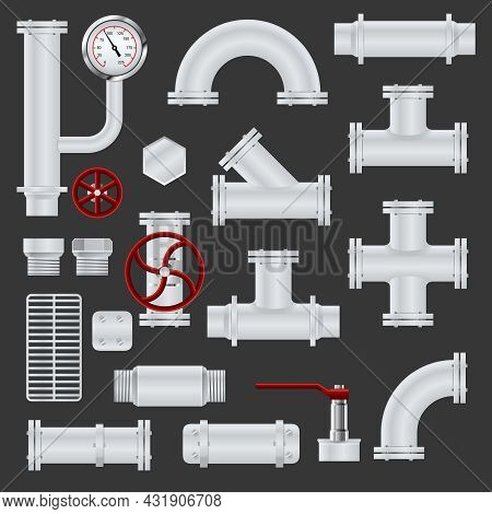 Realistic Pipeline Realistic Icons Set With Metal Steel Tubes And Pipe Elements Isolated Vector Illu