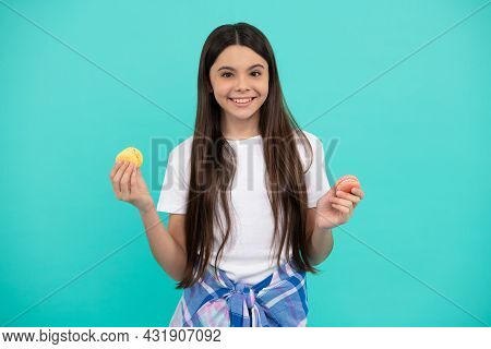 Happy Teen Girl Hold French Macaron Or Macaroon Cookies, Confectionary